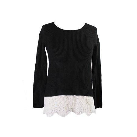 Inc International Concepts  Black White Crochet-Hem Sweater XL