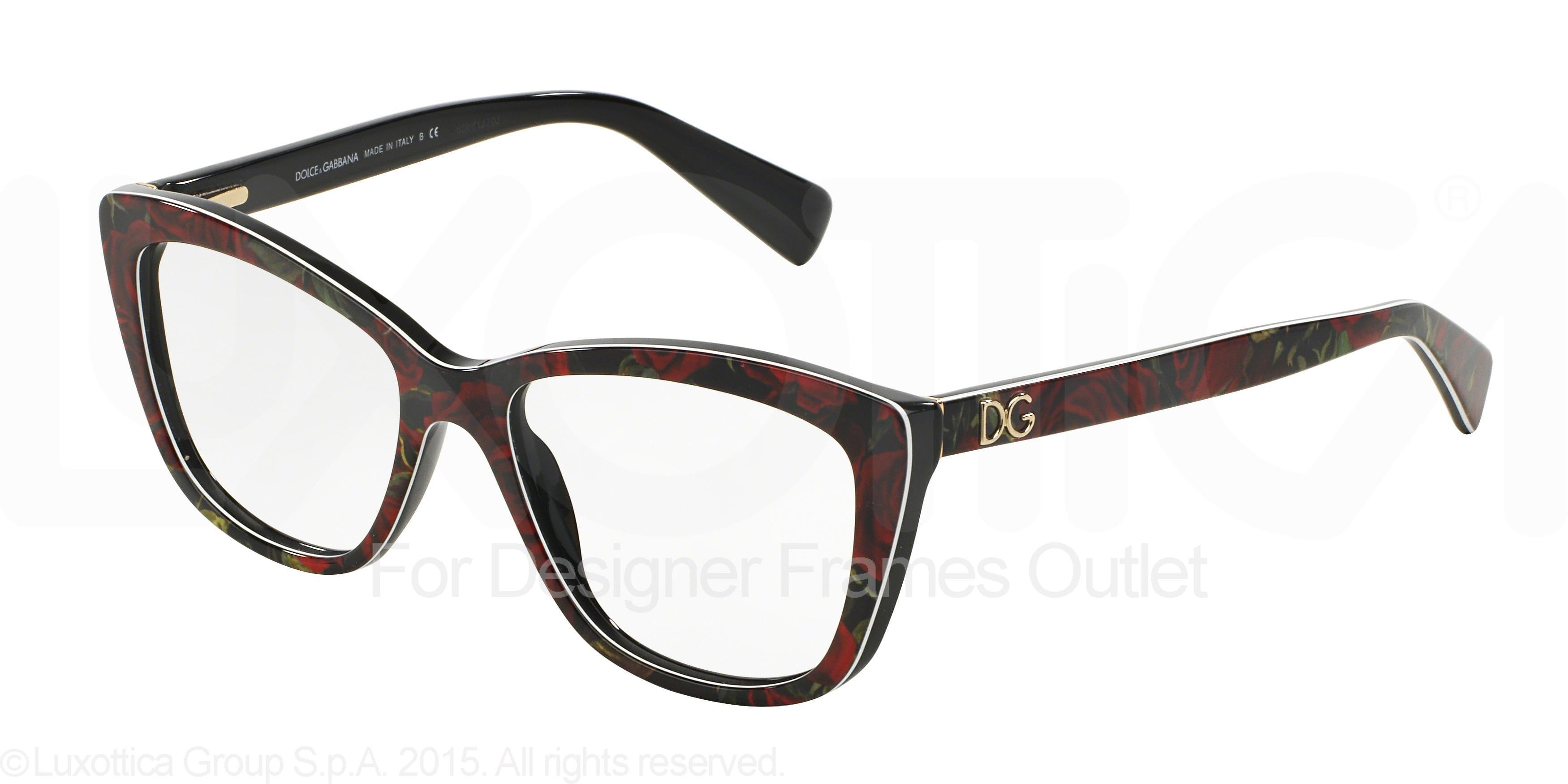 DOLCE & GABBANA Eyeglasses DG 3190 2938 Printing Roses On Black 52MM ...