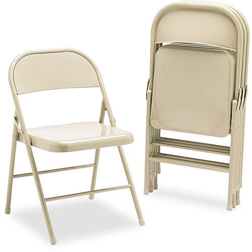 HON Steel Folding Chairs, Light Beige, Without Padded Seat