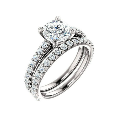 G/SI 2 ct Diamond Engagement Wedding Ring Set White Gold