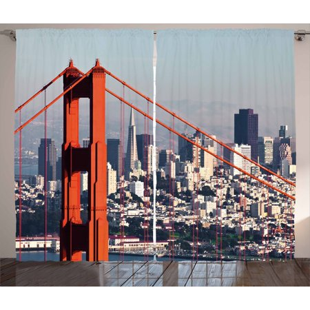 United States Curtains 2 Panels Set  San Francisco Bridge And Cityscape Metropolis Financial District  Window Drapes For Living Room Bedroom  108W X 84L Inches  Orange Baby Blue White  By Ambesonne