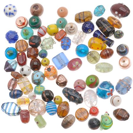 1/2 Pound Lot Lampwork Glass Beads Mix Assorted Styles & Sizes (8 Ounces)
