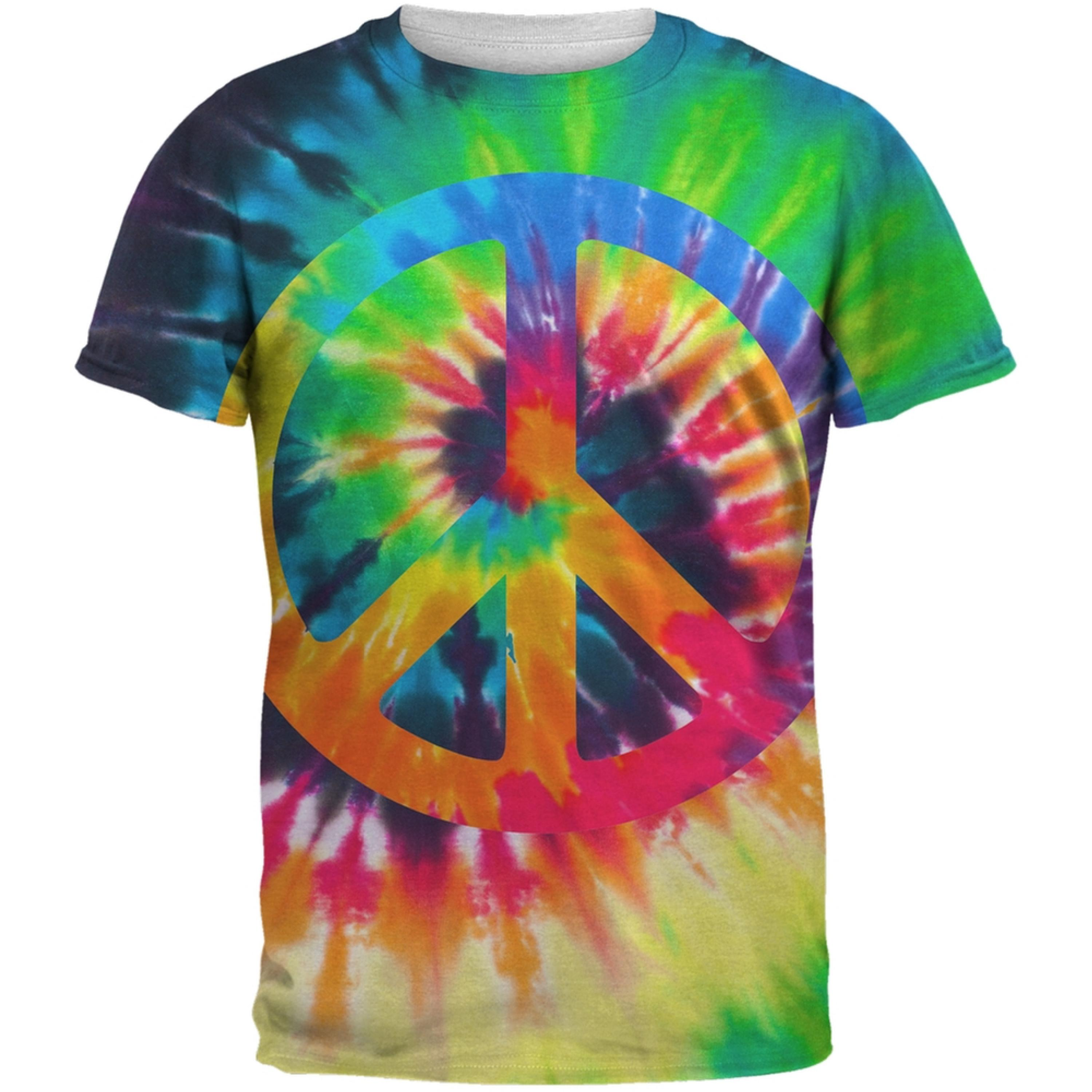 Peace Sign Tie Dye All Over Adult T-Shirt