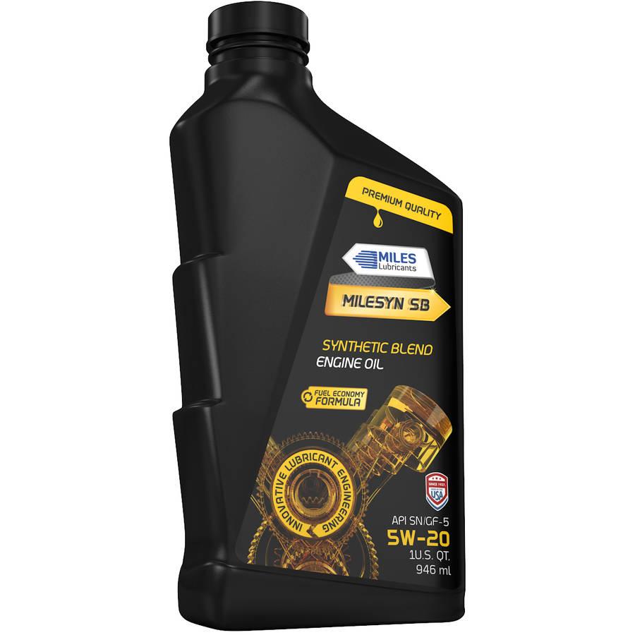 Milesyn SB 5W20 Synthetic Blend Motor Oil, 1-Quart Bottle, Pack of 12