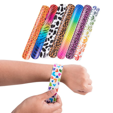 Slap On Plastic Vinyl Retro Bracelets with Colorful Hearts & Animal Print Design Patterns for Children, Toy Party Favors (72 Pack) by Super Z Outlet (Slap Bands)