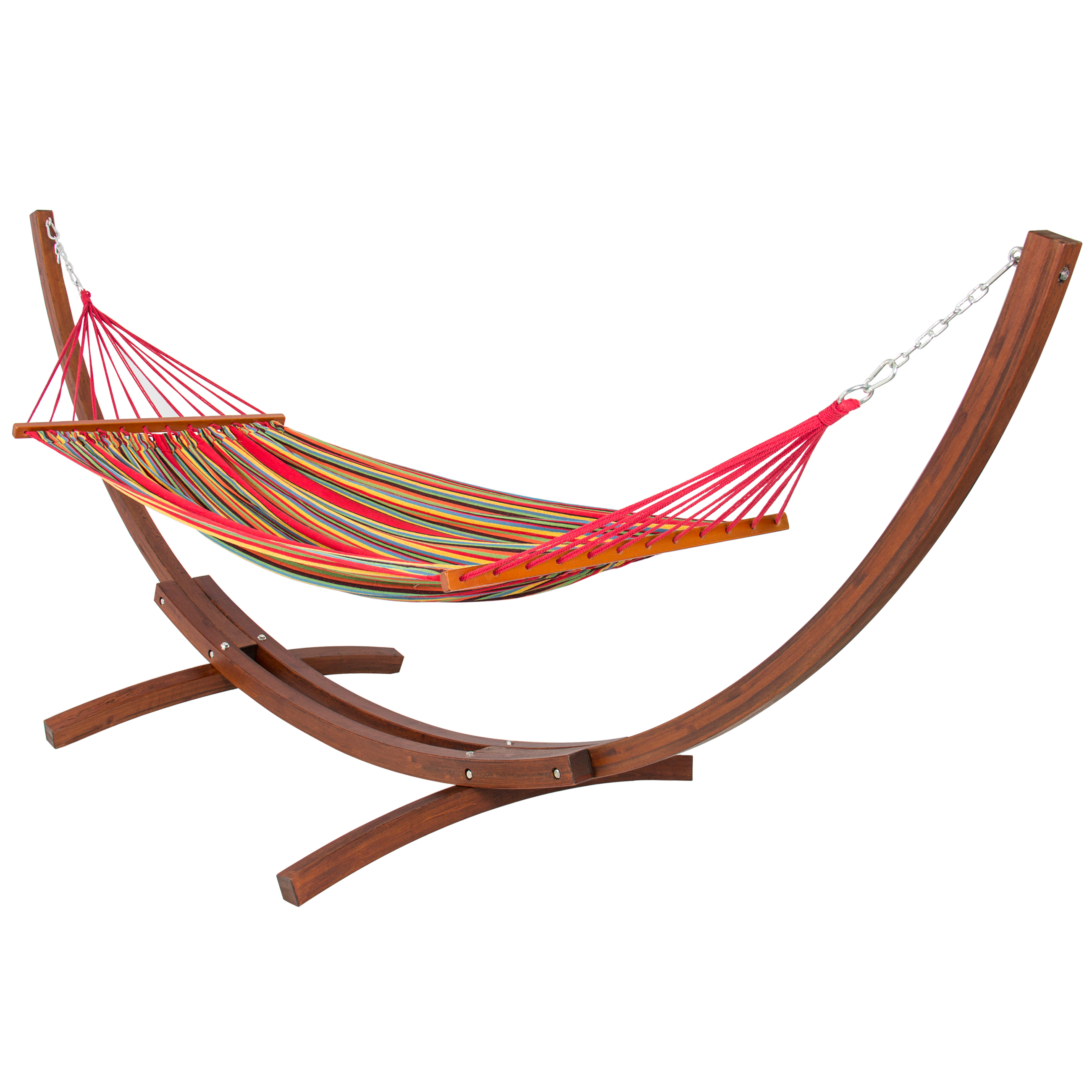 Best Choice Products Wood Curved Arc Hammock Stand w  Cotton Hammock for Outdoor, Garden,... by