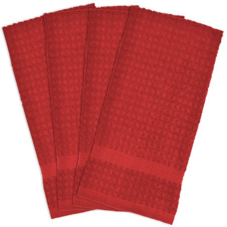 4pk Solid Waffle Kitchen Towels Red - Design Imports