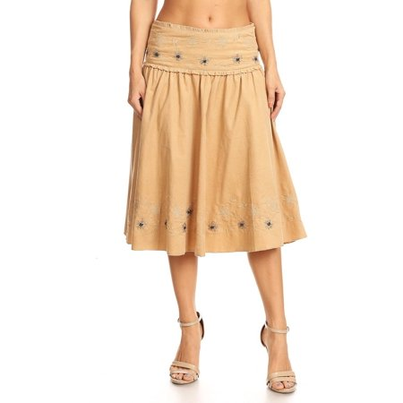 Women's Floral Embroidered Corduroy A-line (3/4 Sleeve Embroidered Skirt)