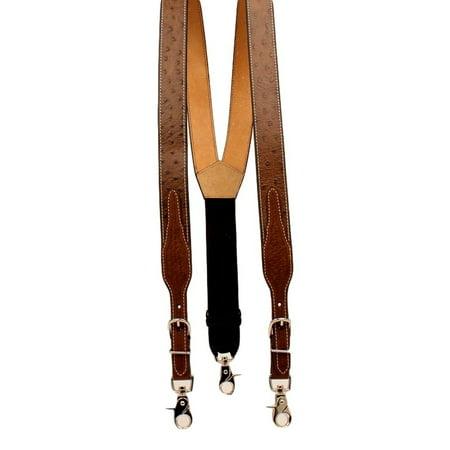 Nocona Western Suspender Men Leather Ostrich Print Adjust Tan -