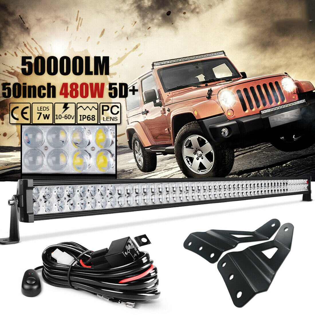 Fit 07 13 Chevy Suburban Tahoe Silverado 50 480w Led Light Bar Roof Bracket Auto Parts Accessories Car Truck Fog Driving Lights