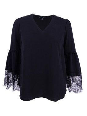Nine West NEW Black Womens Size XS Lace Bell-Sleeve V-Neck Crepe Top