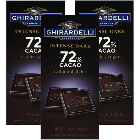 70% Cacao Dark Chocolate ((3 Pack) Ghirardelli Chocolate Intense Dark Twilight Delight 72% Cacao Chocolate 3.5 Oz )