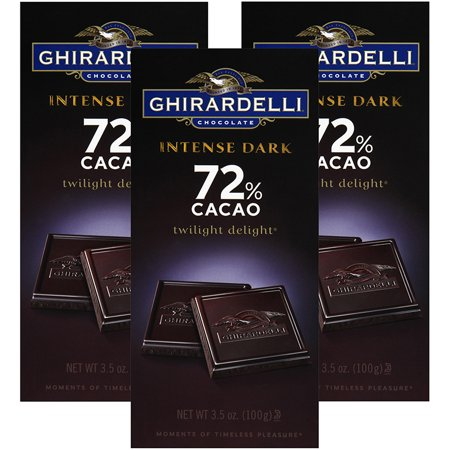 (3 Pack) Ghirardelli Chocolate Intense Dark Twilight Delight 72% Cacao Chocolate 3.5