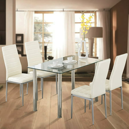Zimtown 5 Piece Dining Table Set White 4 Chair Glass Metal Kitchen Dining Room Breakfast ()