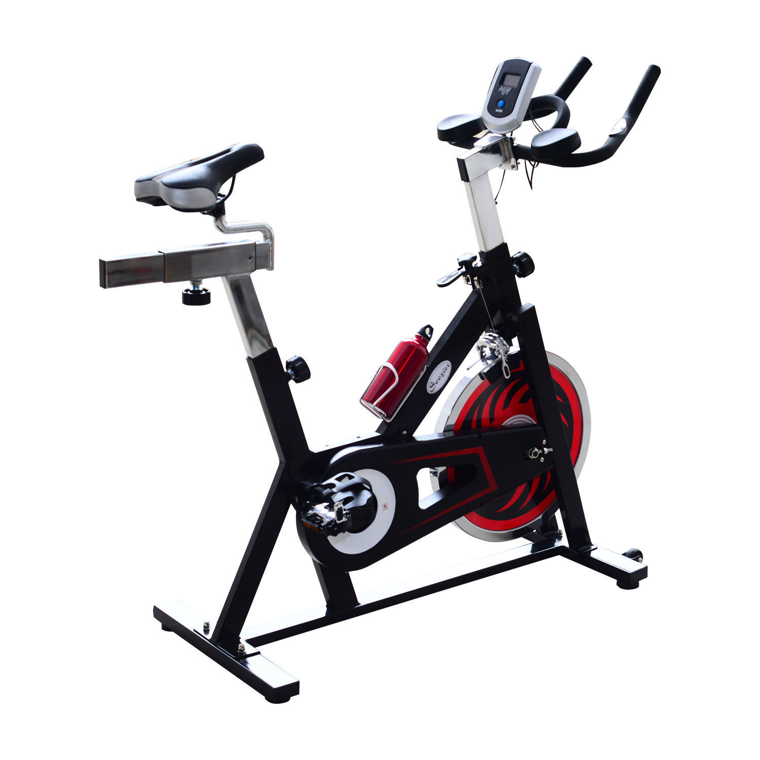 "GHP 17"" Flywheel Diameter Black & Red Steel Stationary Exercise Bike with LCD Monitor"