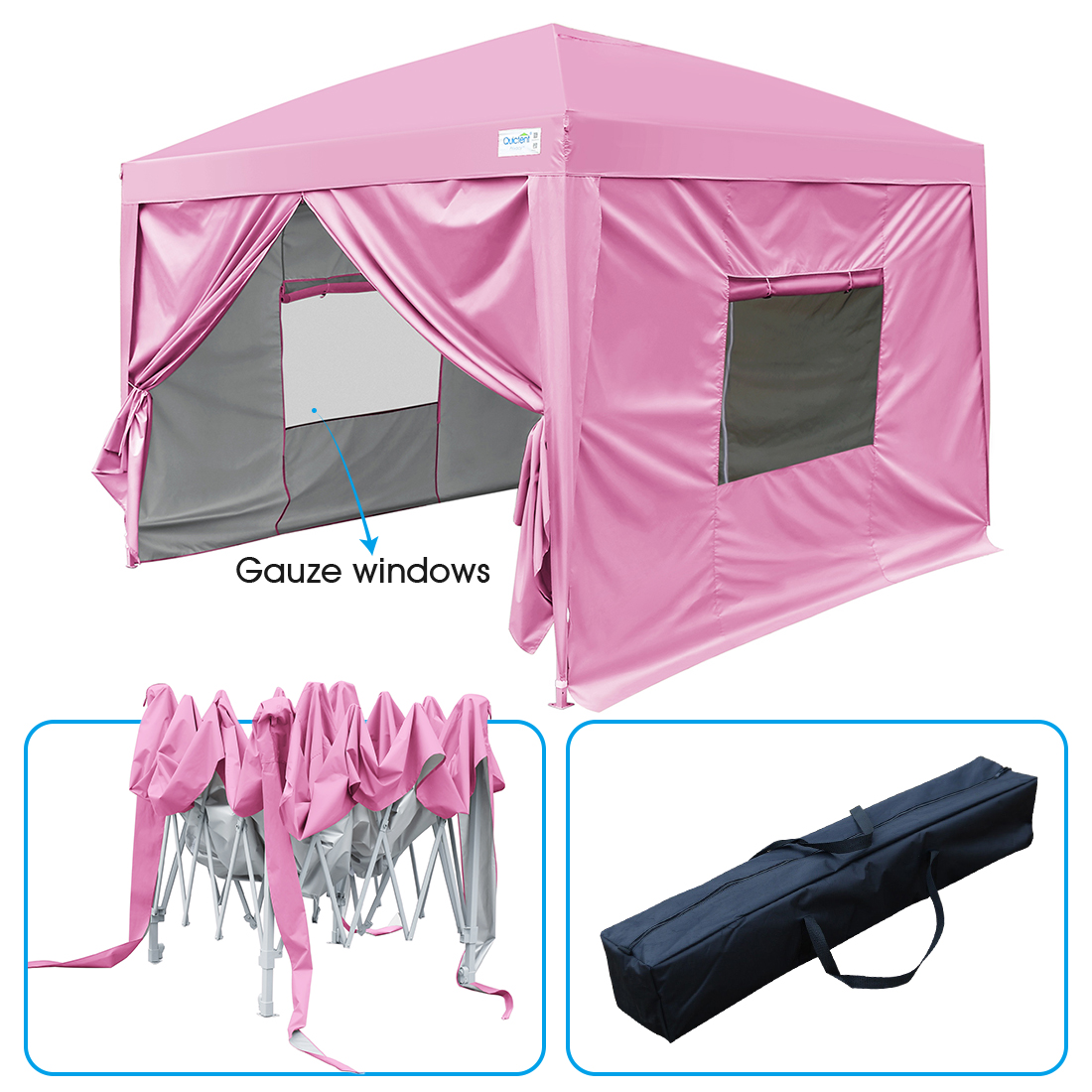 Upgraded Quictent 10x10 EZ Pop Up Canopy Party Tent Instant Gazebo with 4 Sidewalls and Mesh Windows 100% Waterproof (Pink)