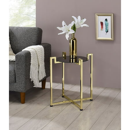 Hendon Modern Accent Side End Table, Black Tempered Glass Top & Brass Metal Base