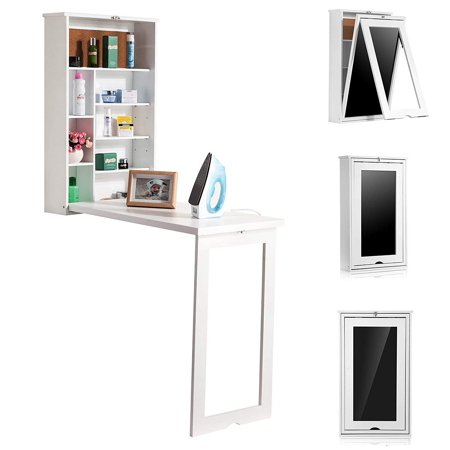 Foldable Wall Desk Computer Desktop with Shelves Storage Fold Out Convertible Wall Mount Desk Study Writing Table ()