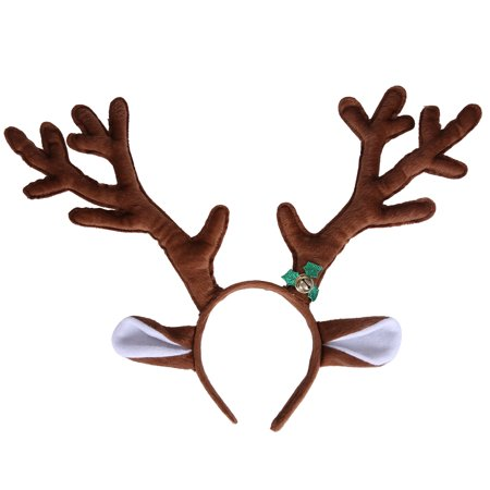 HDE Reindeer Antlers Headband with Ears and Bell Christmas Themed Holiday Wear - Reindeer Antler Headband