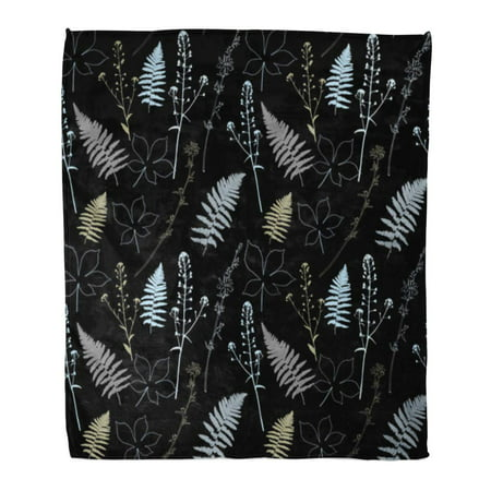 ASHLEIGH Throw Blanket 50x60 Inches Floral Fern Leaves Shepherd's Purse Plant Chestnut Tree and Chicory Flowers Warm Flannel Soft Blanket for Couch Sofa (Fern Throw)