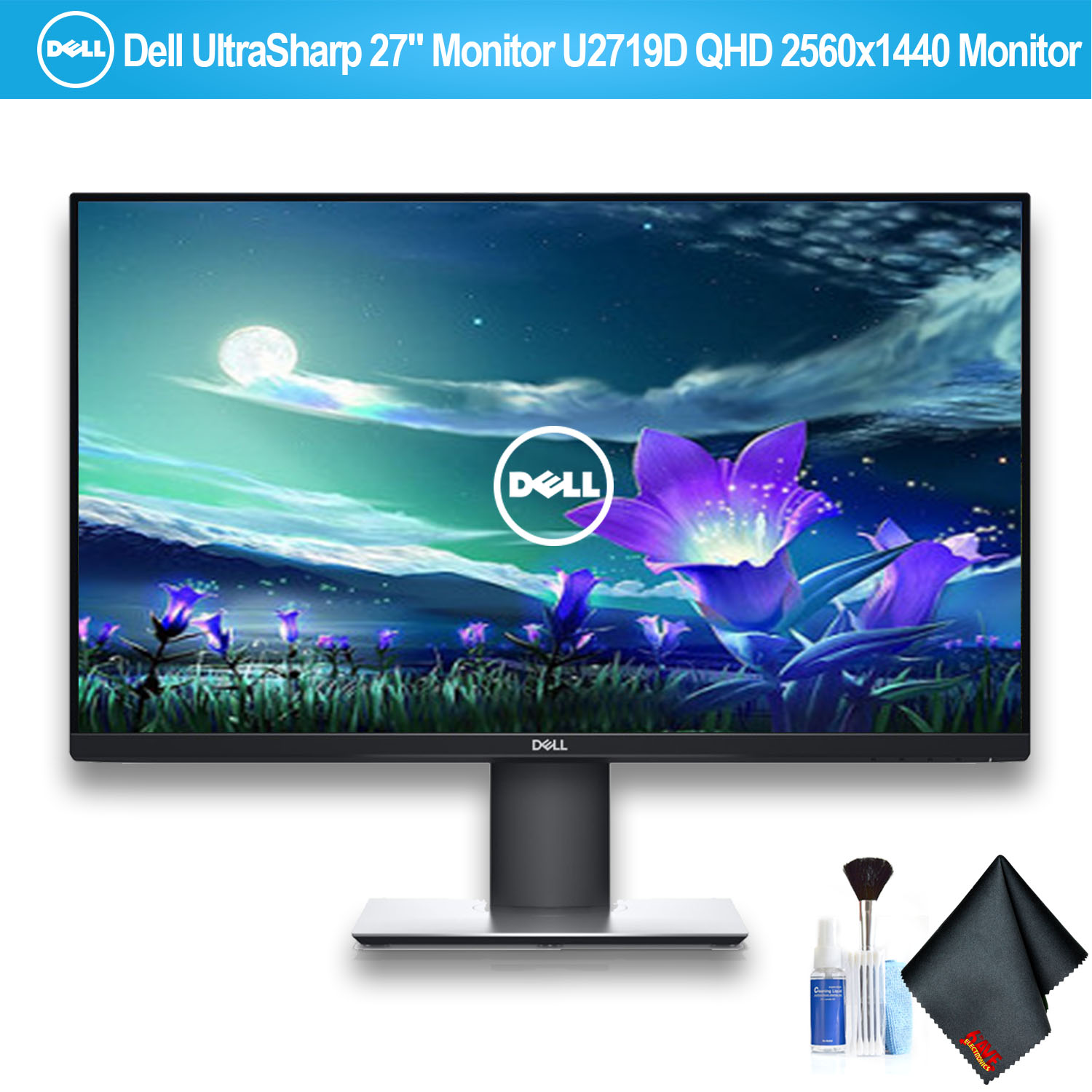 """Dell UltraSharp 27"""" Monitor QHD 2560x1440 Monitor With HDMI Cable and Ergotron 45-295-026 LX Desk Mount LCD Arm Extra Height"""