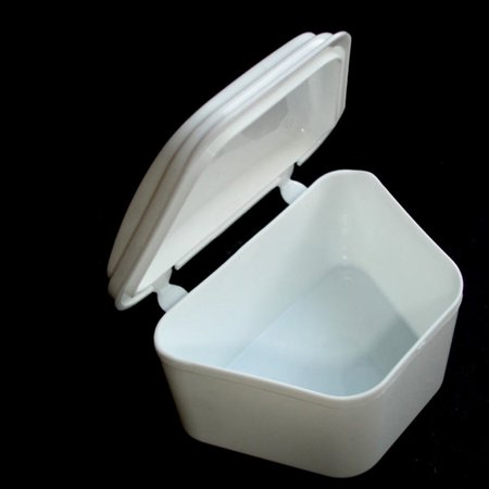 White Denture Bath Retainer Box Orthodontic Mouth Guard Dental Storage Container ()