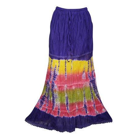 Mogul Womens Tiered Maxi Long Skirt Tie Dye A-Line Cotton Blend Summer Style Hippie Chic Ethnic Skirts ()