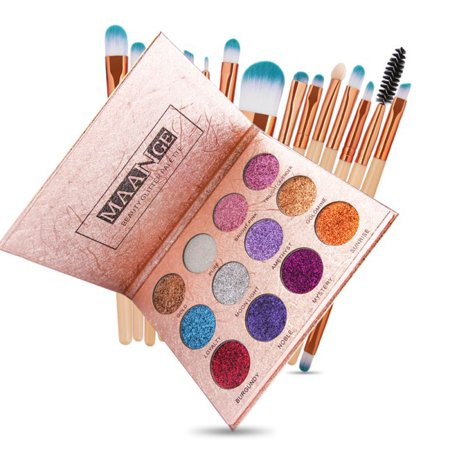 12 Colors Diamond Glitter Eyeshadow Palette With 15 Pcs Makepup Brush Set Beauty Makeup](White Make Up)