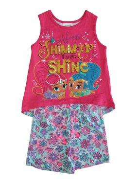 bb276bdf6ad51 Product Image Little Girls Fuchsia Shimmer Shine Sleeveless 2 Pc Outfit Set