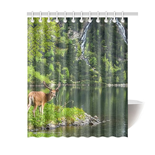 GCKG Spring Green Trees Landscape Shower Curtain Mystic Forest Deer Lake House Waterfall Polyester Fabric Bathroom Sets With Hooks 60x72