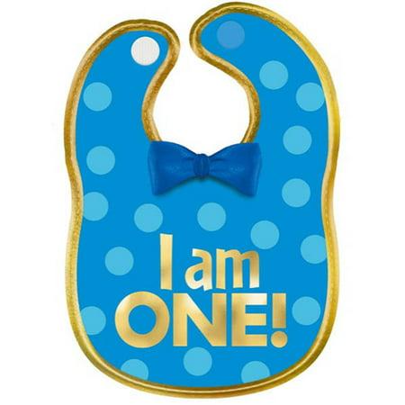 1st Birthday Boy 'Blue and Gold' Fabric Bib (1ct) for $<!---->
