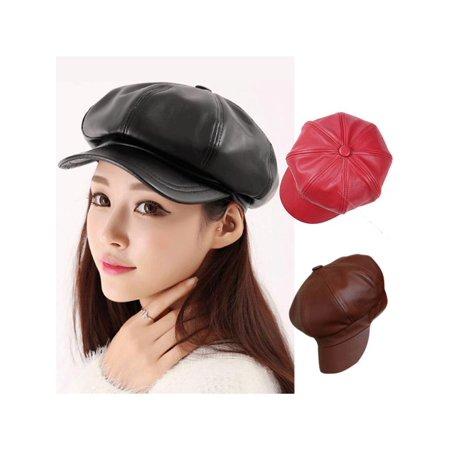 Stylish Women Casual Vintage PU Leather Octagonal Hat Caps Warm Bonnet Beret for Spring Winter Outdoor](Bonnets For Sale)