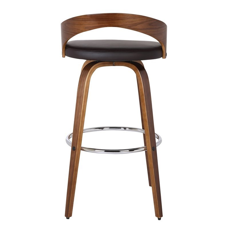 "Maklaine 26"" Faux Leather Counter Stool in Brown - image 4 of 6"