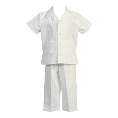 Angels Garment Little Boys White Pocket Top Pants Linen 2 Pc Outfit - Dark Angel Outfits