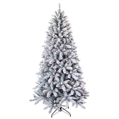 Holiday Time 7.5' Pre-Lit Winter Frost Pine Artificial Christmas Tree, Clear Lights