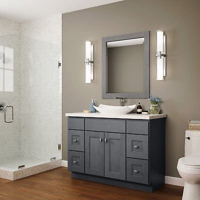 """JSI Dover Lunar Gray Bathroom 48"""" Vanity Cabinet w/2 Doors, w/4 Drawers"""