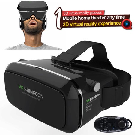 VR Virtual Reality 3D Glasses with Bluetooth Controller for ... fb678115e52