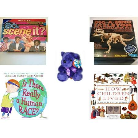 Children's Gift Bundle [5 Piece] -  80'S Scene It? The Deluxe DVD Trivia  - T-Rex Dinosaur Excavation Kit  - Little Rainbow Bear Purple  - Is There - Dino Excavation Kit