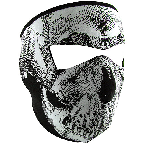 Zan Headgear Full Mask Glow-in-the-Dark Black/White Skull Face