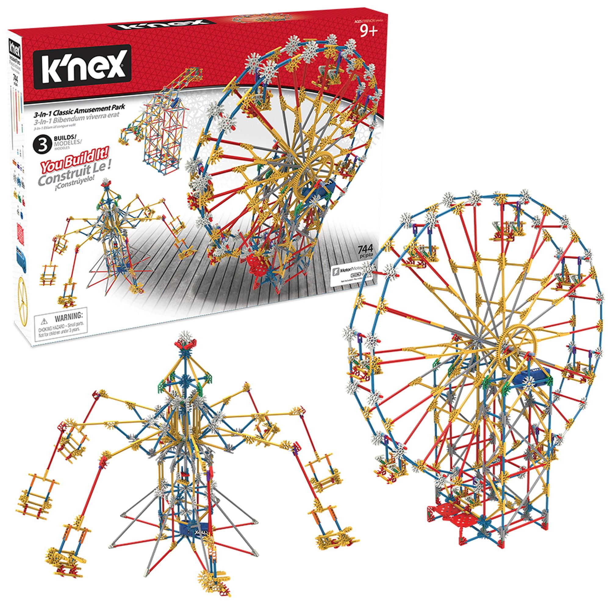 K Nex Thrill Rides 3 In 1 Classic Amusement Park Building Set 744 Pieces Ages 9 Engineering Education Toy Walmart Com Walmart Com