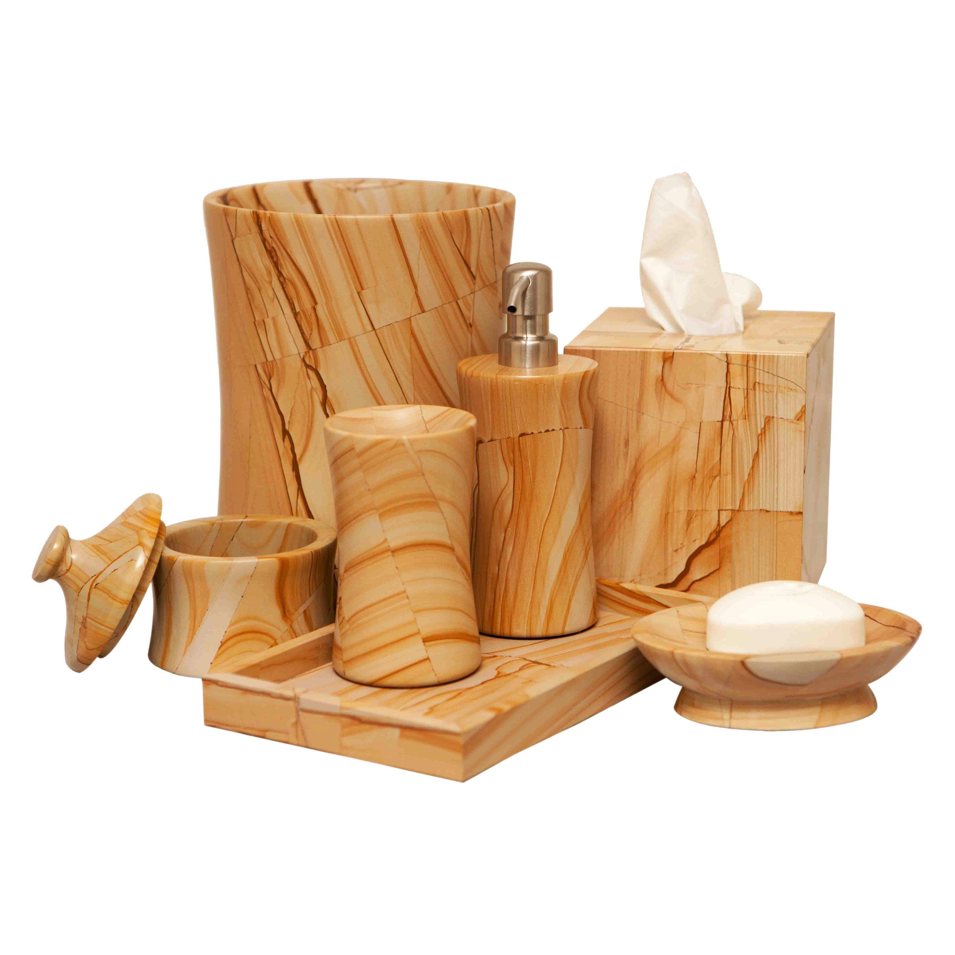 Vinca 7-Piece Bathroom Accessories - Teak Stone Marble