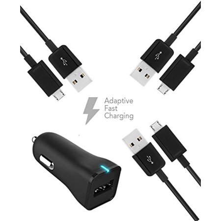LG G3 Dual-LTE Charger Micro USB 2.0 Cable Kit by TruWire { Car Charger + 3 Micro USB Cable} True Digital Adaptive Fast Charging uses dual voltages for up to 50% faster charging! (Wireless Charging Back Lg G3)