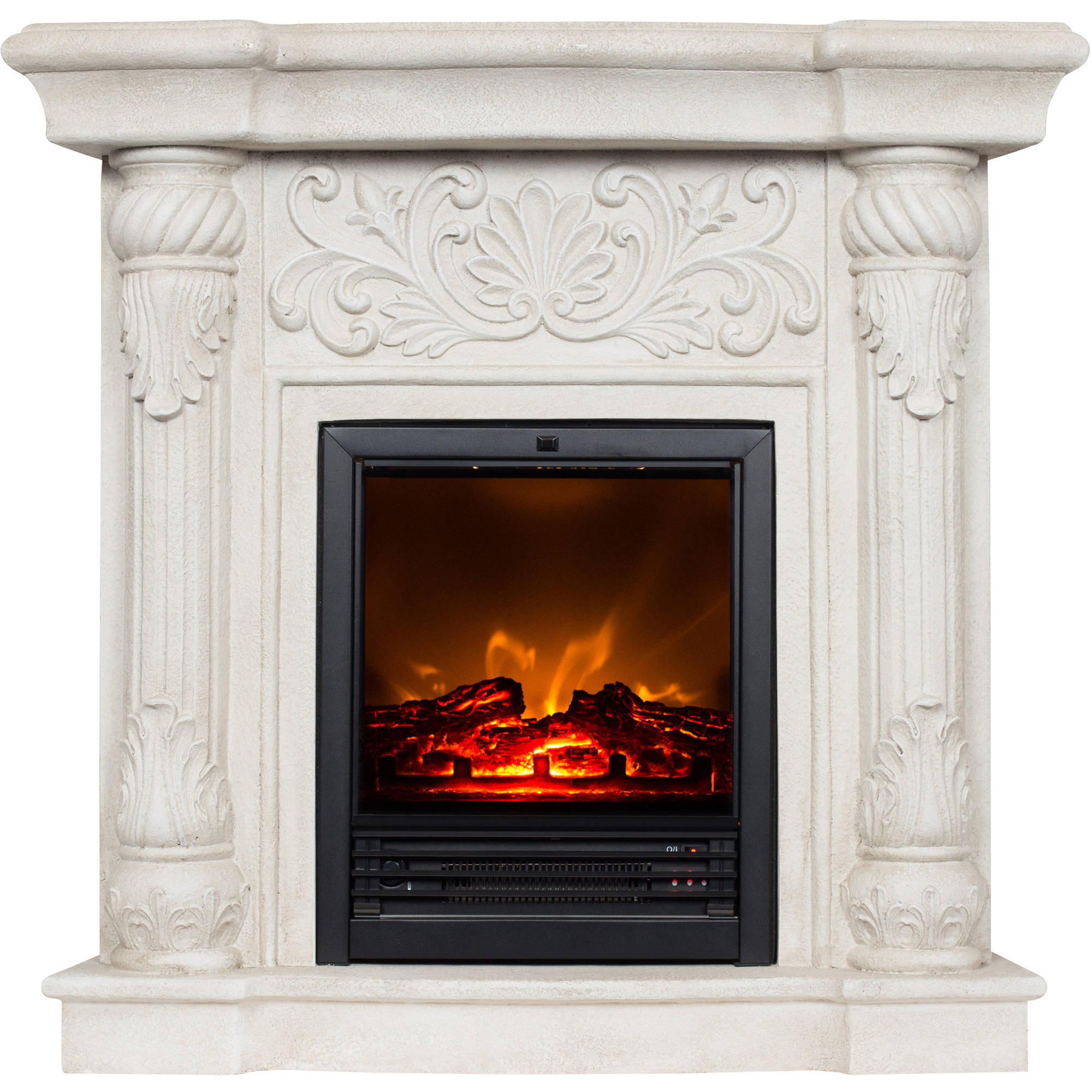 "Buy Polyfiber Electric Fireplace with 41"" Mantle at Walmart.com"
