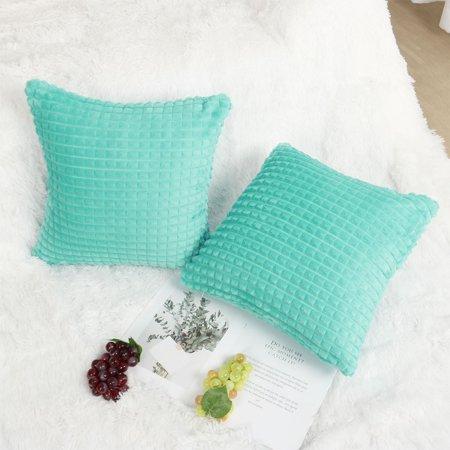 "Faux Fur Plush Throw Pillow Cover Fluffy Cushion Cover Sofa 2pcs(20""x20"", Cyan) - image 7 of 10"