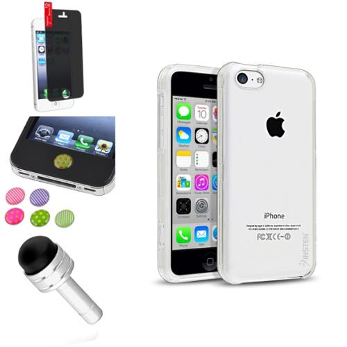 Insten Clear Ultra Slim Hard Plastic Case+Stylus+Privacy Anti-Spy Protector+Sticker For iPhone 5C