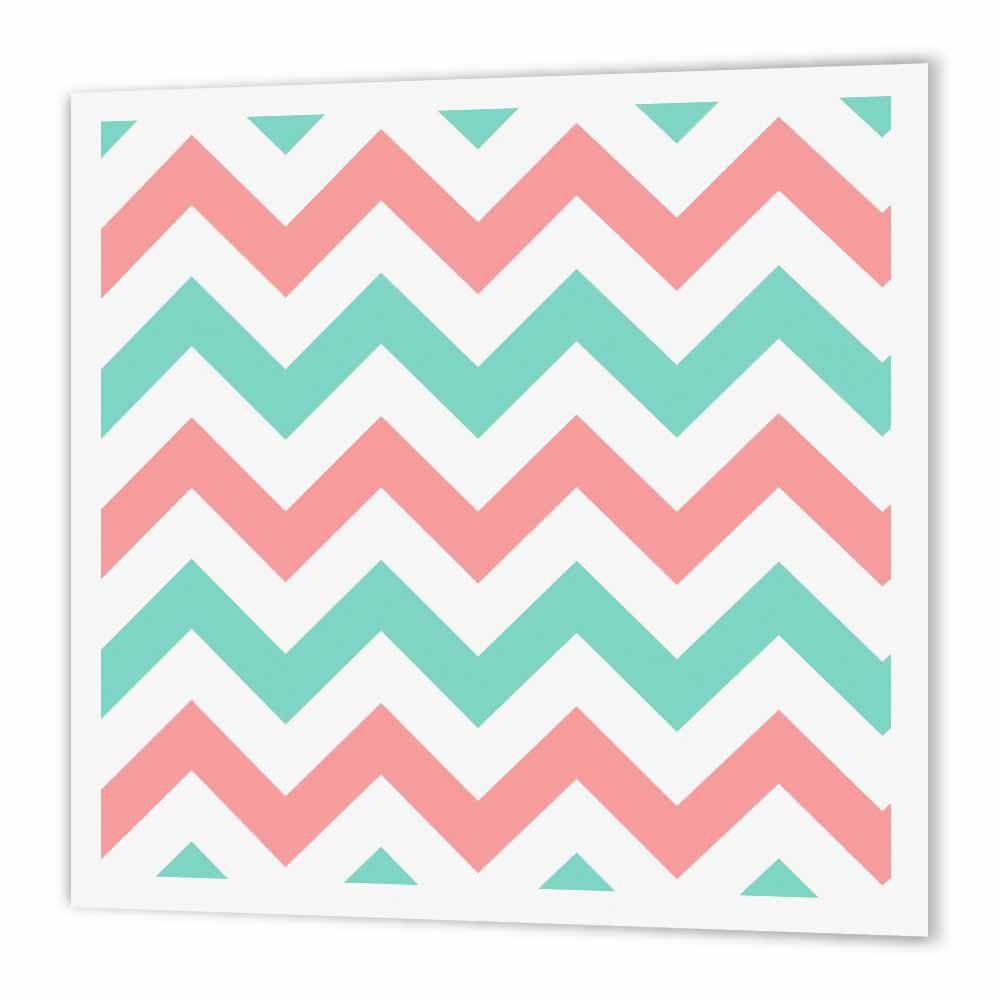 3dRose Coral pink and Turquoise Chevron zig zag pattern - teal zigzag stripes, Iron On Heat Transfer, 6 by 6-inch, For White Material