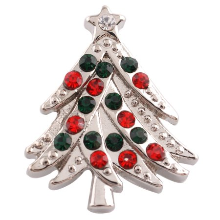 1 PC - 18MM Christmas Tree Green Red Rhinestone Silver Tone Charm for Candy Snap Jewelry KC6161 CC2615 - Snap It Jewelry
