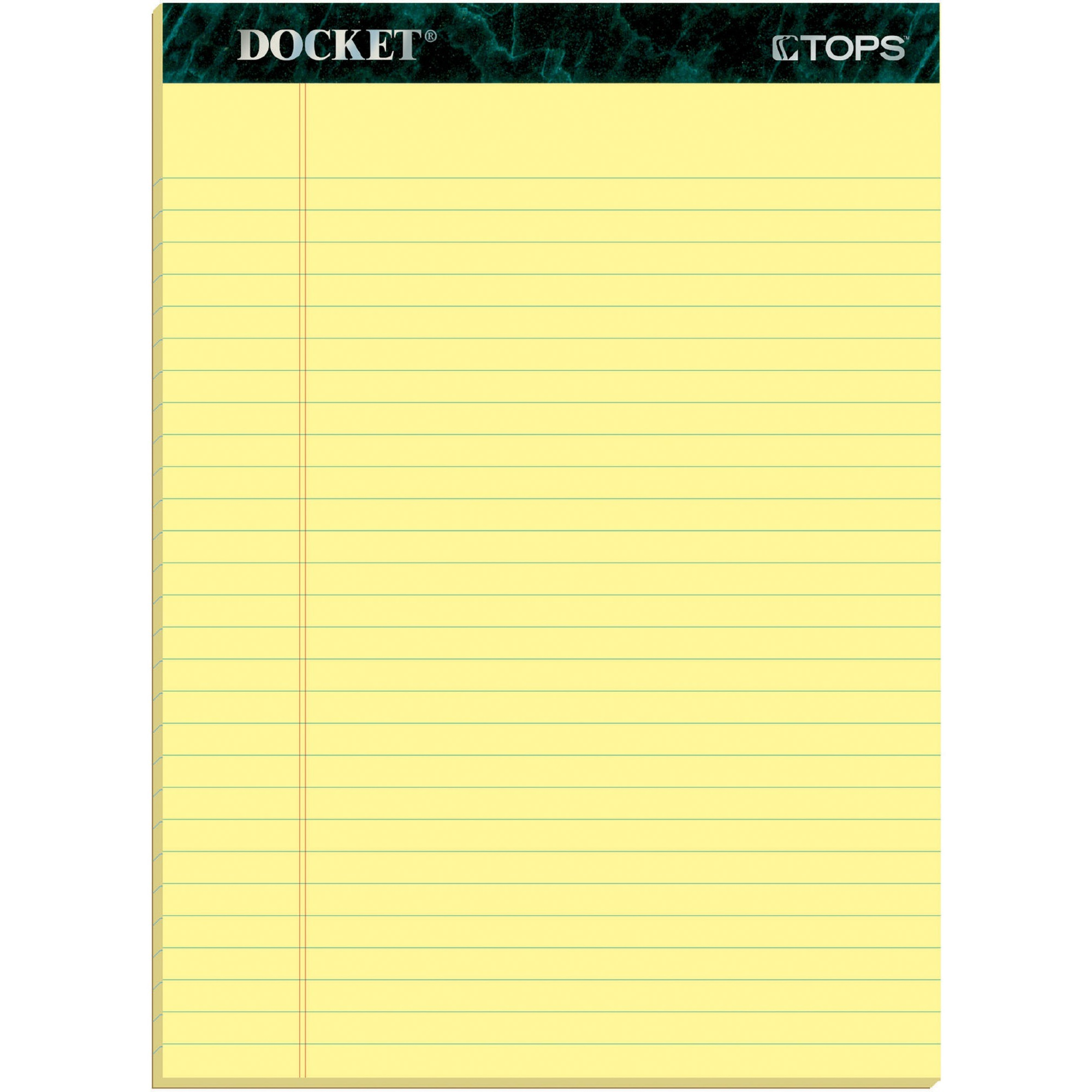 TOPS, TOP63400, Docket Letr-Trim Legal Rule Canary Legal Pads, 12 / Pack