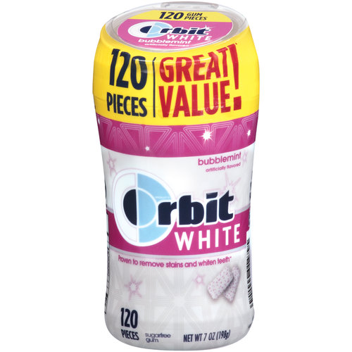 Orbit White Bubblemint Sugarfree Gum, 120 pieces, 7 oz