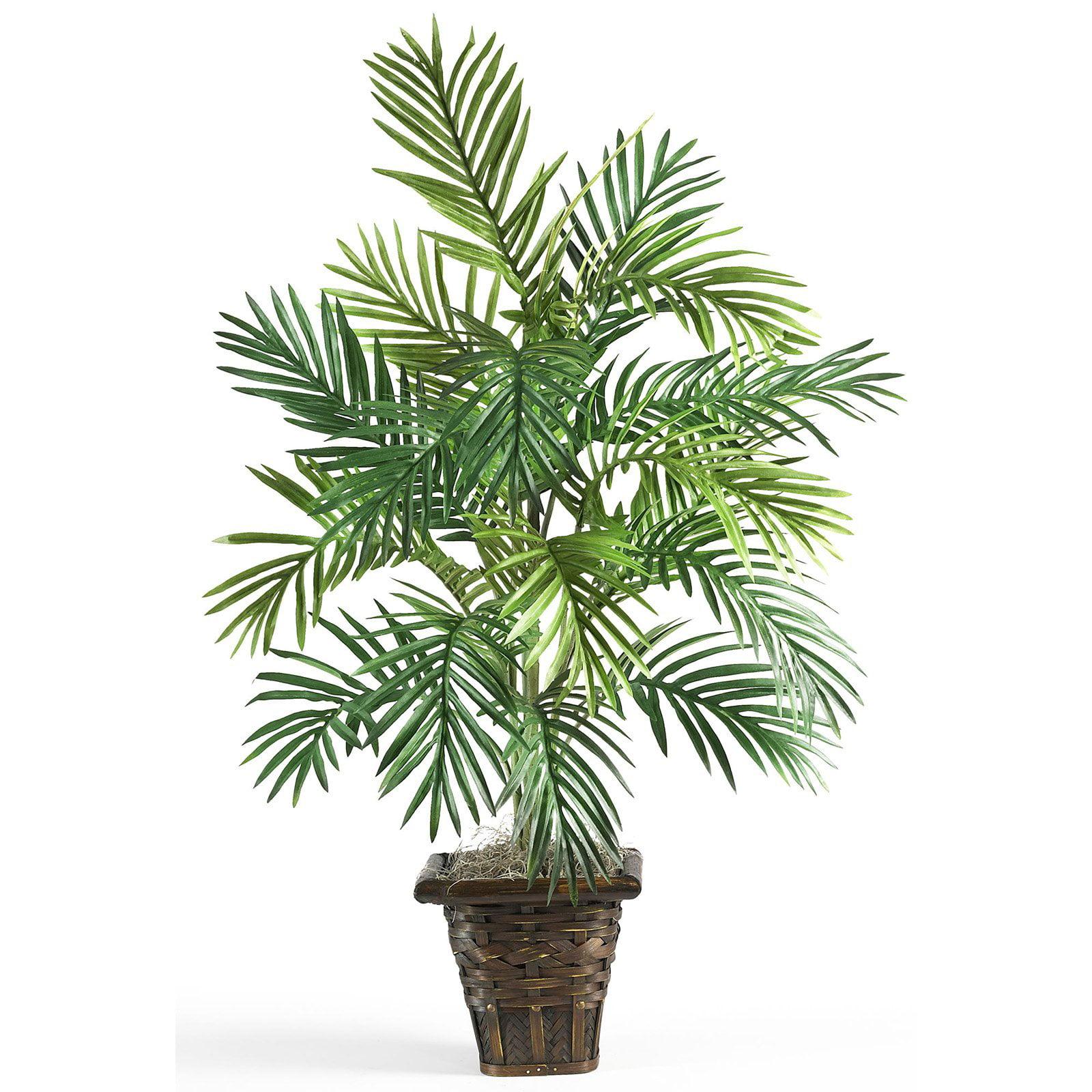 Areca Palm with Wicker Basket Silk Plant